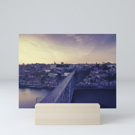 Porto across the bridge. Mini Art Print