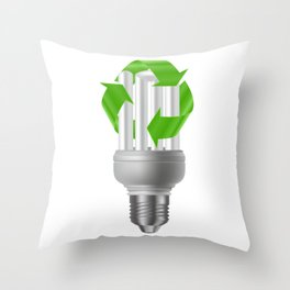 Energy saving bulb with recycle sign Throw Pillow