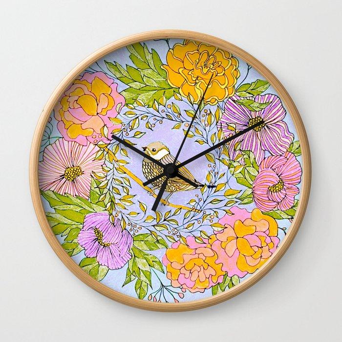 Spring Chickadee in Flowery Woodland Wreath Wall Clock