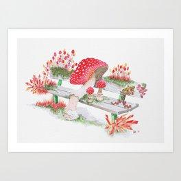 Mushrooms on a Public Bench | Surrealistic Watercolor Painting by Stephanie Kilgast Art Print