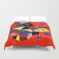 cello Duvet Covers featuring Abstract #222 | The Cellist by Ron (Rockett) Trickett