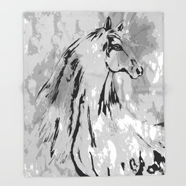 HORSE BLACK AND WHITE Throw Blanket