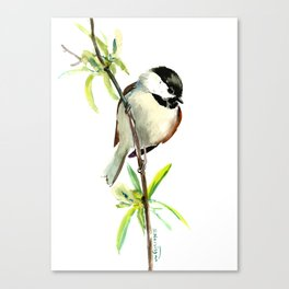 Chickadee on Willow, minimalist bird artwork chickadee painting Canvas Print