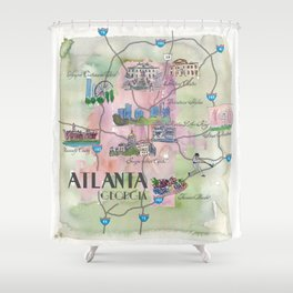 Atlanta Favorite Map with touristic Top Ten Highlights in Colorful Retro Style Shower Curtain