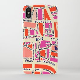 paris map pink iPhone Case