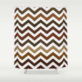 Shades of Brown Chevron Pattern Shower Curtain