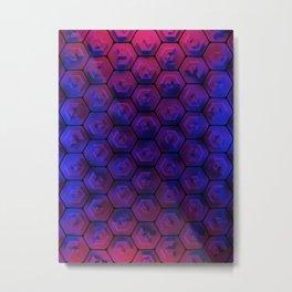 Blue hexagonal honeycomb Metal Print
