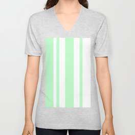 Mixed Vertical Stripes - White and Light Green Unisex V-Neck