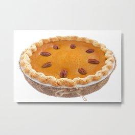 Homemade pumpkin pie isolated on white Metal Print