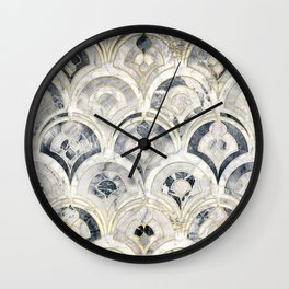 Monochrome Art Deco Marble Tiles Wall Clock