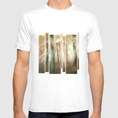 Forest Light White Mens Fitted Tee MEDIUM