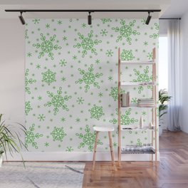 Christmas Holiday Green Snowflake Pattern Wall Mural