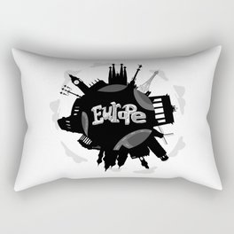 Europe World with Significant Buildings Rectangular Pillow
