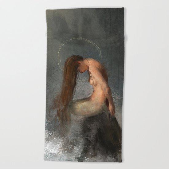 Pensive Mermaid Beach Towel