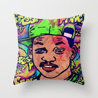 fresh prince Throw Pillows featuring FRESH PRINCE by AZZURRA DESIGNS