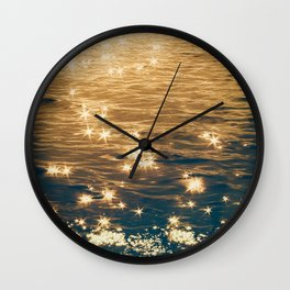Sparkling Ocean in Gold and Navy Blue Wall Clock