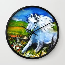Horse in the landscape Wall Clock