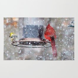 Goldfinch and Cardinal at Feeder Rug
