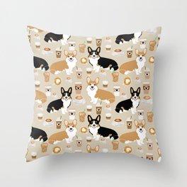 Corgi coffee welsh corgis dog breed pet lovers tan corgi crew Throw Pillow