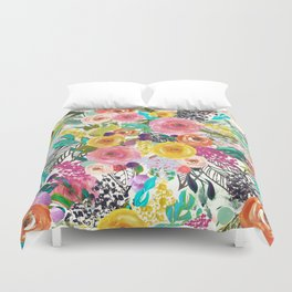 Vibrant Autumn Floral with Turquoise Duvet Cover