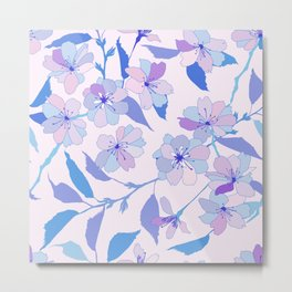 Blue and purple stylized flowers pattern Metal Print