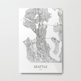 Vintage Styled Map of Seattle | Black and White Poster Giclée Metal Print