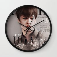 snk Wall Clocks featuring SnK Magazine: Eren by emametlo