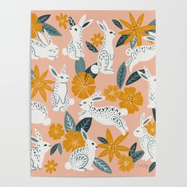 Bunnies & Blooms – Teal & Blush Poster