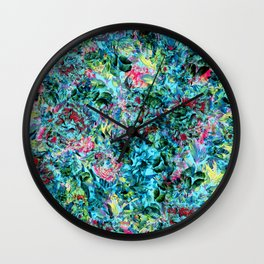 Abstract Floral Chaos Wall Clock