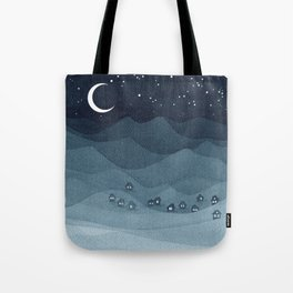 Moon over the mountains, landscape, indigo night Tote Bag