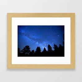 Milky Way (Black Trees Blue Space) Framed Art Print