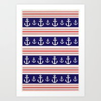 anchors Art Prints featuring anchors by Manoou