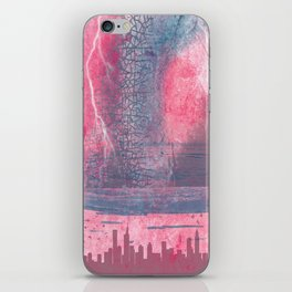 Town and the storm, pink, gray, blue iPhone Skin