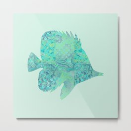 Butterflyfish Buttefly Fish Tropical Fish Vintage Floral Mint Teal Turquoise Blue Metal Print