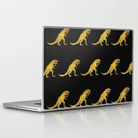 trex Laptop & iPad Skins featuring Golden T.Rex Pattern by chobopop