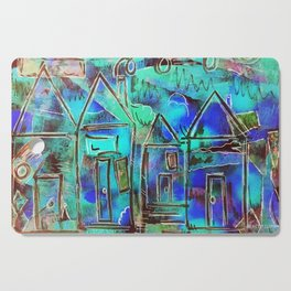 Neon Blue Houses Cutting Board