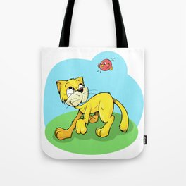 Funny Cat and Red Sparrow Tote Bag