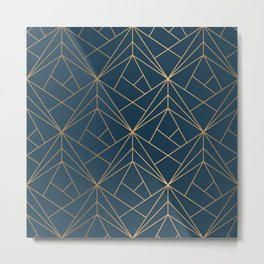 Benjamin Moore Hidden Sapphire Gold Geometric Pattern With White Shimmer Metal Print