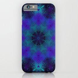 Cyan, Blue, and Purple Kaleidoscope 3 iPhone Case
