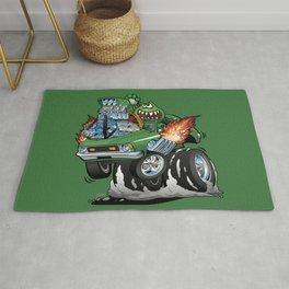 Seventies Green Hot Rod Funny Car Cartoon Rug