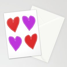 Red and Purple Hearts - 4 hearts Stationery Cards