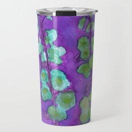 Hollyhock Foxglove Watercolor Indigo Turquoise Moss Travel Mug