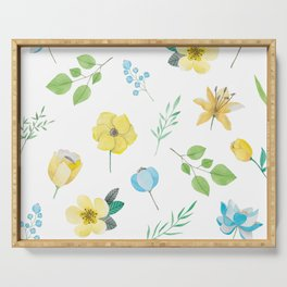 floral pattern with yellow flowers Serving Tray