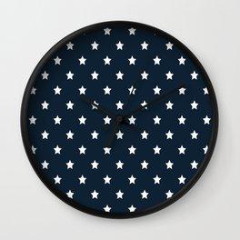 Dark Blue With White Stars Pattern Wall Clock