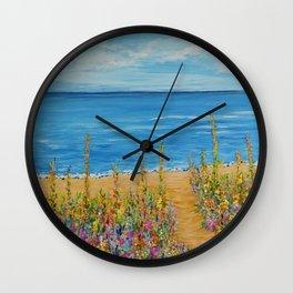 Summer Beach 2, Impressionism Ocean Wall Art, Beach House Decor Wall Clock