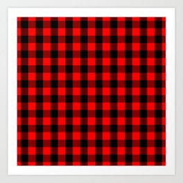 Classic Red and Black Buffalo Check Plaid Tartan Art Print