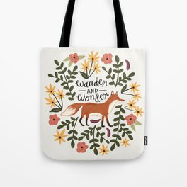 Fox and Flowers - Wander and Wonder Tote Bag