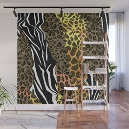 Wild Animal Floral Print Wall Mural