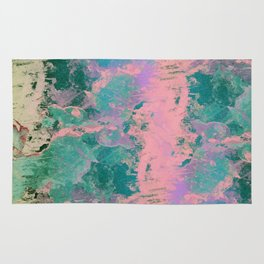 Pink and Green Paint Rug