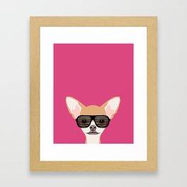 Misha with Glasses - Aviator glasses, hipster glasses, chihuahua, dog, cute, pet, cute dog Framed Art Print